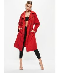 Missguided - Red Oversized Classic Trench Coat - Lyst