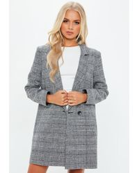Missguided - Grey Checked Wrap Front Coat - Lyst
