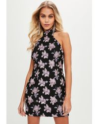 Missguided - Black Jaquard High Neck Dress - Lyst