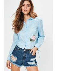 Missguided - Blue Rose Applique Tie Back Shirt - Lyst