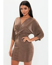 Missguided - Chocolate Kimono Sleeve Twist Front Midi Dress - Lyst