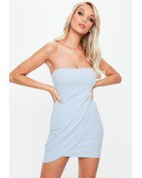 Missguided - Blue Stretch Crepe Bandeau Wrap Bodycon Dress - Lyst