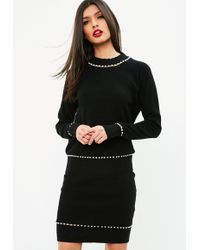 Missguided - Black Knitted Pearl Trim Coord Skirt - Lyst