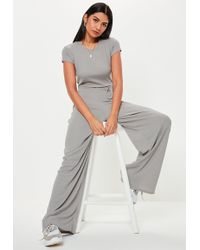 7328555d0b4 Missguided High Neck T-shirt Culotte Jumpsuit Grey in Gray - Lyst