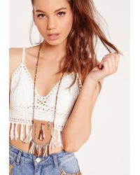 Missguided - Faux Leather Pouch Long Necklace - Lyst