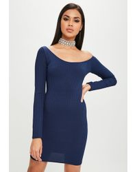 Missguided - Carli Bybel X Navy Long Sleeve Ribbed Dress - Lyst
