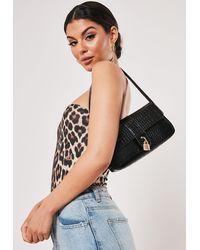 Missguided Black Croc Padlock Shoulder Bag