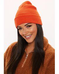 Missguided - Orange Plain Beanie Hat - Lyst