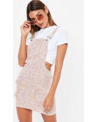 Missguided - Pink Metallic Textured Pini Dress - Lyst