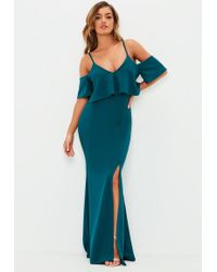 Missguided - Teal Strappy Frill Fishtail Maxi Dress - Lyst