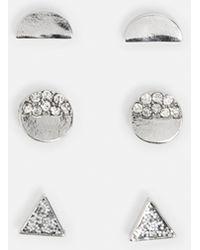 Missguided - Silver Crystal Stud Multi Pack Earrings - Lyst