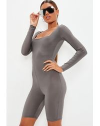 Missguided - Grey Slinky Square Neck Unitard - Lyst