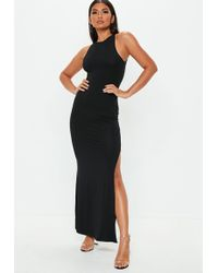 Missguided - Black 90s Neck Maxi Dress - Lyst