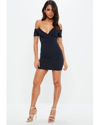 Missguided - Navy Fold Over Bardot Bodycon Dress - Lyst