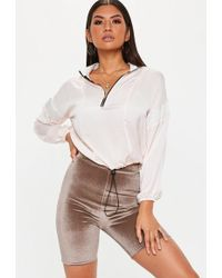 Missguided - Brown Velvet Cycling Shorts - Lyst