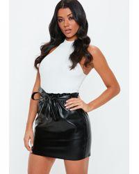 e9e031dafc14 Missguided - Petite Black Faux Leather Tie Waist Mini Skirt - Lyst