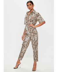 Missguided - Brown Snake Print Shirt Jumpsuit - Lyst