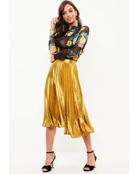 Missguided - Yellow Pleated Silky Skirt - Lyst