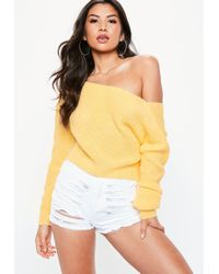 Missguided - Yellow V Back Off Shoulder Knitted Jumper - Lyst