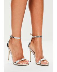 c0fae5f4450 Missguided Nude Double Faux Feather Strap Barley There Heels in ...