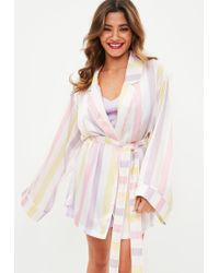 Missguided - Multicoloured Satin Pastel Striped Robe - Lyst