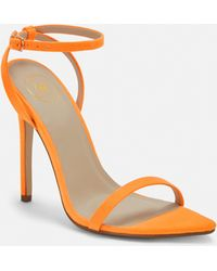 27b9b2d4b98b Missguided - Neon Orange Faux Suede Barely There Heels - Lyst