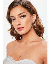 Missguided - Silver Circle Diamante Line Earrings - Lyst