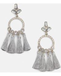 Missguided - Silver Drop Circle Tassel Earrings - Lyst