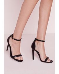c2843ecd5aa Missguided - Barely There Strappy Heeled Sandals Black - Lyst