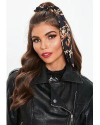 Missguided - Black Gold Chain Print Headband - Lyst