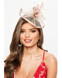 Missguided - Blush Satin Feather Fascinator - Lyst