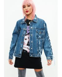 Missguided - Blue Lace Up Oversized Denim Jacket - Lyst