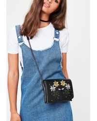 Missguided - Black Embroidered Studded Cross Body Bag - Lyst