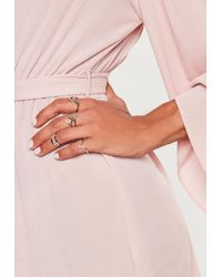 Missguided - Silver Look Geo Ring Multipack - Lyst