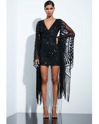Missguided - Peace + Love Black Kimono Embellished Fringed Mini Dress - Lyst