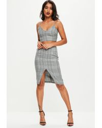 Missguided - Grey Dog Tooth Check Co Ord Set - Lyst