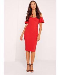 Missguided - Bardot Bodycon Midi Dress Red - Lyst
