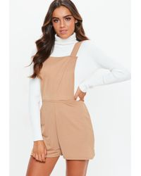 Missguided - Sand Dungaree Playsuit - Lyst
