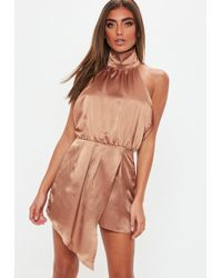 Missguided - Bronze High Neck Wrap Front Playsuit - Lyst