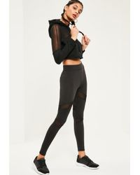 Missguided | Active Mesh Panel Gym Leggings Black | Lyst
