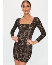 Missguided - Black Long Sleeve Lace Overlay Mini Dress - Lyst