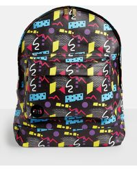 Missguided - Mi Pac Black 80s Abstract Printed Backpack - Lyst