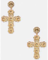 Missguided - Gold Ornate Cross Earrings - Lyst