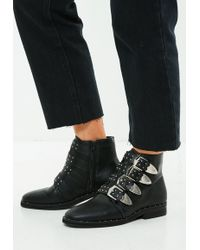 Missguided - Black 4 Strap Buckle Ankle Boots - Lyst