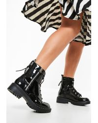 Missguided - Black Cleated Sole Pin Studded Ankle Boots - Lyst