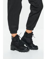 Missguided - Black Contrast Panel Lace Up Boots - Lyst