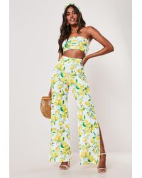 Missguided - Yellow Lemon Print Bandeau Top And Wide Leg Pants Co Ord Set - Lyst