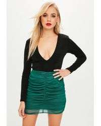 Missguided - Green Mesh Ruched Mini Skirt - Lyst
