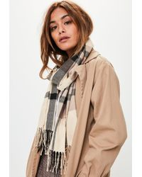 Missguided - Brown Checkered Long Scarf - Lyst