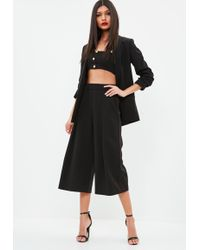 Missguided - Black Pleated Front Culottes - Lyst